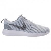 Männer Nike Roshe Two Flyknit Schuh 844833 011 Grau Weiß/Wolf Grau/Weiß