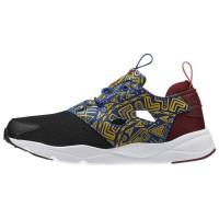 Damen Reebok Furylite African Pack Klassisch Schuhe Schwarz/Weiß/Merlot/Harvest Grün/Kollegium Königlich