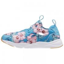 Reebok Furylite Fg Frauen Klassisch Schuhe Blumen-FLicht Blau/Rebel Beere/Rosa/Weiß
