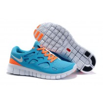 Himmel Blau Weiß Orange Frauen Nike Free Run 2 Schuhe