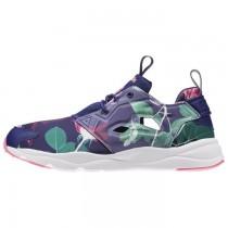Frauen Reebok Furylite Grafik Klassisch Schuhe (Blumen-Nacht Marine/Phantom Blau/Weiß/Gift Rosa)