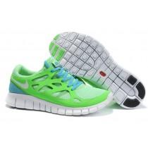 Männer Nike Free Run 2 Grün Apfel Weiß Fluoreszierend Grün Gelb-Grün Blau