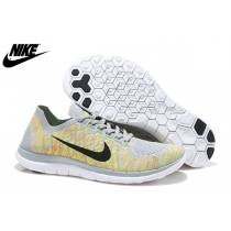 Damen Nike Free 4.0 Flyknit Licht Grau Grün Schwarz Schuhe 717076