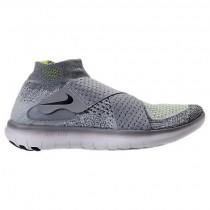 Frauen Wolf Grau/Schwarz/Cool Grau/Volt Nike Free Rn Motion Flyknit Schuhe 880846 002