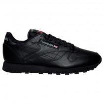 Herren Reebok Classic Leder Gummi Schuhe 116 Schwarz