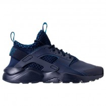 Herren Nike Air Huarache Run Ultra Se Sneaker 875841 400 Hell Schwarz/Lite Blau Lack