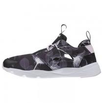 Reebok Furylite Damen Grafik Classic Schuhe (Blumen-Schwarz/Weiß/Porzellan Rosa)