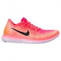 Hell Mango/Schwarz/Rennfahrer Rosa Damen Nike Free Rn Flyknit Sneaker 880844 800