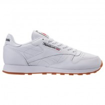 Herren Reebok Classic Leder Gummi Schuh 49797 Weiß/Gummi