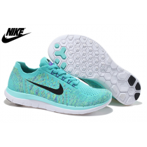 Nike Free 4.0 Flyknit Frauen Sneaker Blass Mondlicht Schwarz 717076