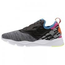 Reebok Furylite Frauen Slip-On Lux Klassisch Schuhe (Kohle/Elektrisch Blau/Dynamisch Rosa/Elektrisch Pfirsich)
