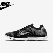 Damen/Herren Nike Free 4.0 Flyknit Schuh Schwarz Weiß Wolf Grau 717076-001