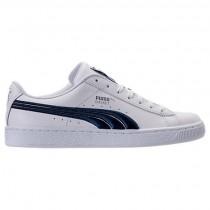 Herren Puma Korb Klassisch Badge Weiß/Blau Schuhe 36255003