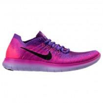 Feuer Rosa/Schwarz/Hyper Traube Damen Nike Free Rn Flyknit Schuhe 880844 600