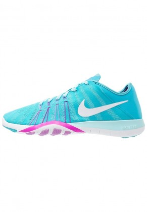 Frauen Nike Free Tr 6 Sports Schuh - Gamma Blau/Weiß/Lila/Fuchsie Glühen