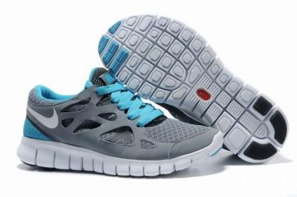 Damen Nike Free Run 2 Cool Grau Weiß Fluoreszierend Grün Gelb-Grün Blau Sneaker