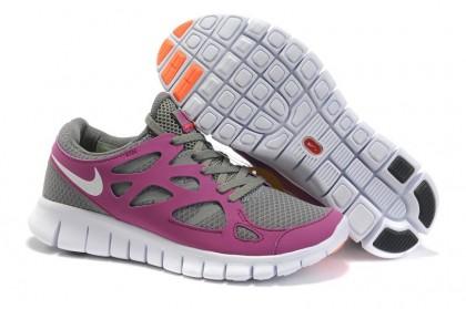 Nike Free Run 2 Damen Schuh Gefallen Grau Lebhaft Traube Gesamt Orange Weiß