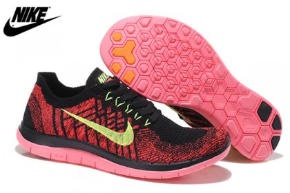 Herren Damen Nike Free 4.0 Flyknit Schuhe Schwarz Karmesinrot Melone Fluoreszenz 717076