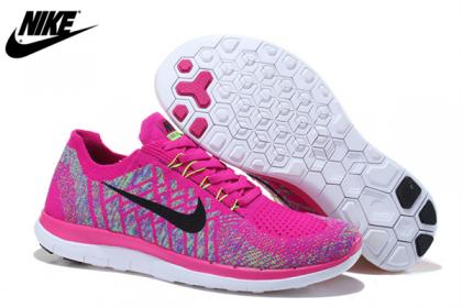 Frauen Schuhe Von Nike Free 4.0 Flyknit Fuchsie Blitz Aluminum Persisch Violett Schwarz 717076-500