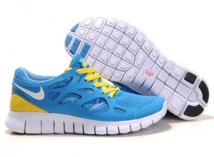 Nike Free Run 2 Damen Blau Gelb Weiß Schuh
