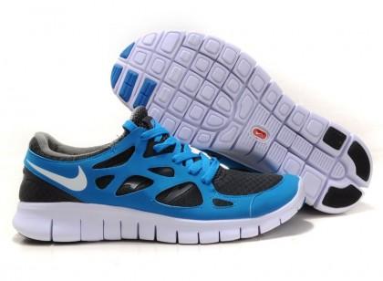 Blau Grau Weiß Nike Free Run 2 Männer Schuhe