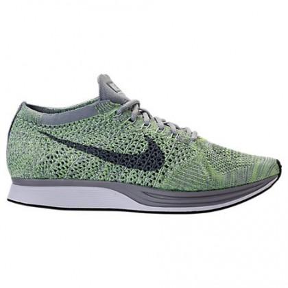 Damen/Herren Nike Flyknit Racer Schuhe 526628 103 Weiß/Cool Grau/Geist Grün
