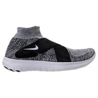 Schwarz/Weiß/Grau Weiß Damen Nike Free Rn Motion Flyknit Schuhe 880846 001