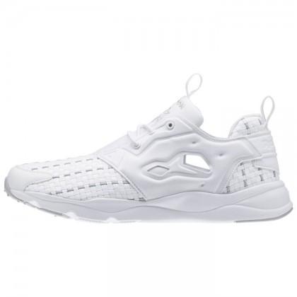 Männer Reebok Furylite Neu Gewebte Klassisch Schuhe (Weiß/Stehlen)