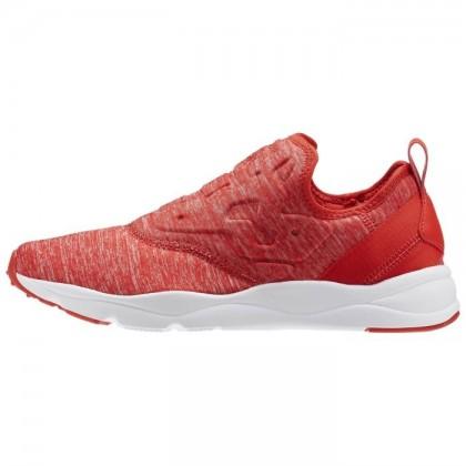 Reebok Furylite Frauen Slip On Jersey Klassisch Schuhe Riot Rot/Weiß