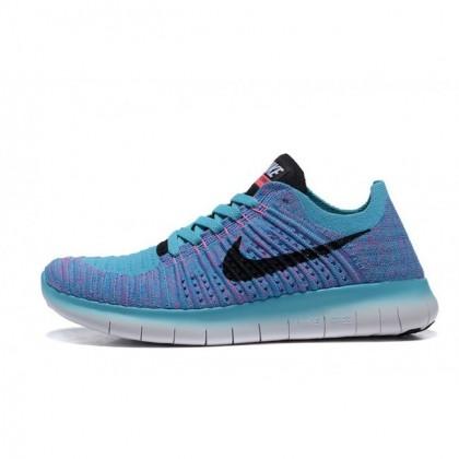 Damen Nike Free Flyknit 5.0 Blau Pfirsichblüte Schwarz Schuhe