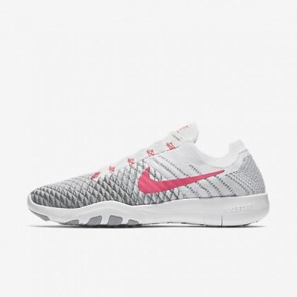 Weiß/Wolf Grau/Cool Grau/Rot Frauen Schuhe - Nike Free Tr Flyknit 2
