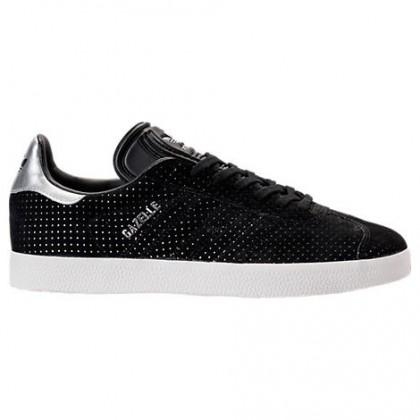 Damen Adidas Gazelle Schuhe By9363 Kern Schwarz/Weiß/Silber Metallisch