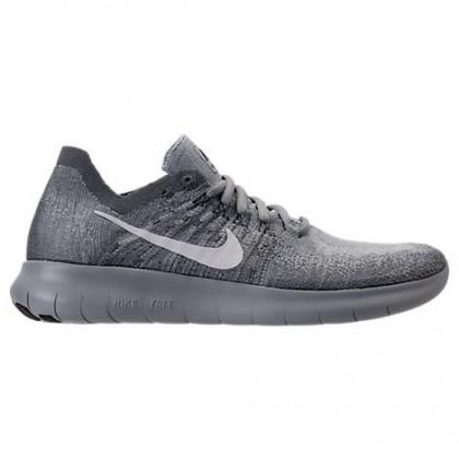 Frauen Nike Free Rn Flyknit Wolf Grau/Weiß/Fluoreszierend Grün Schuhe 880844 015
