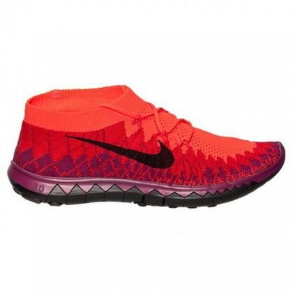 Frauen Nike Free Flyknit 3.0 Schuh Im Hell Karmesinrot/Schwarz/Universität Rot
