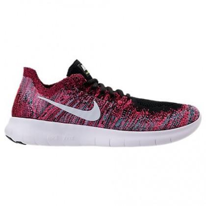 Damen Nike Free Rn Flyknit Schuhe 880844 006 Schwarz/Weiß/Rennfahrer Rosa/Gamma Blau