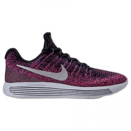 Nike Lunarepic Low Flyknit 2 Damen Schuh 863780 015 Schwarz/Metallisch Silber/Rot