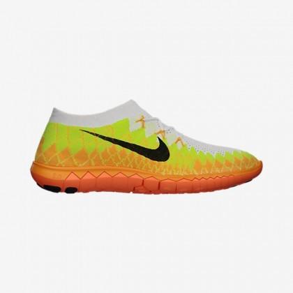 Weiß/Volt/Laser Orange/Schwarz Männer Nike Free 3.0 Flyknit Sneaker