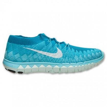 Nike Free Flyknit 3.0 Neon Türkis/Weiß/Polarisiert Blau Damen Schuhe