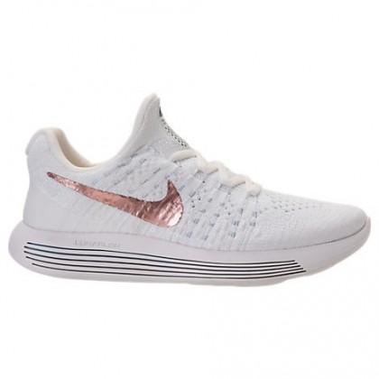 Nike Lunarepic Low Flyknit 2 Frauen Schuhe 904743 100 Weiß/Metallisch Rot Bronze/Wasserstoff Blau