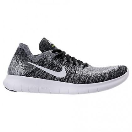 Herren Nike Free Rn Flyknit Sneaker 880843 003 Schwarz/Weiß/Volt