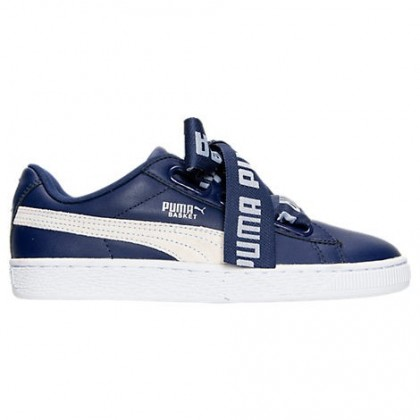 Blau Tiefe/Weiß Damen Puma Basket Heart De Schuh 36408202 002