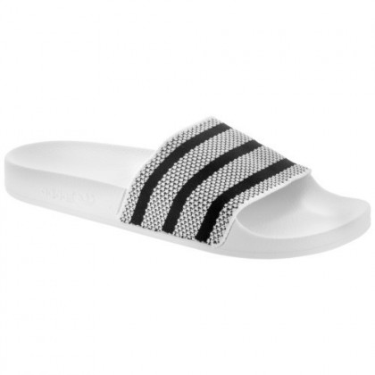 Adidas Adilette Stricken Herren Weiß/Schwarz Hausschuhe